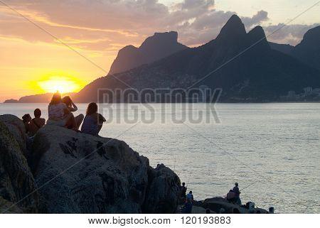 Rio De Janeiro - The Stone Sunset In Ipanema