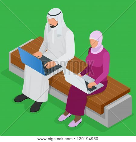 Arabian business man working on Laptop. Arab businesswoman hijab working at a laptop. Vector flat 3d
