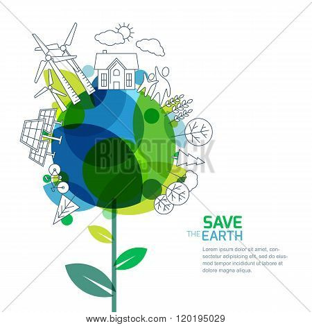 Vector Illustration Of Growing Plant And Earth With Outline Trees, House, People And Alternative Ene
