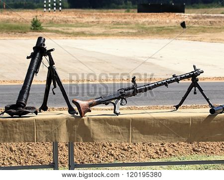 RYAZAN REGION  AUGUST 3: Lightweight mortar and machine gun from World War II  - on August 3, 2015  in Ryazan region