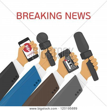 Breaking news. Vector live report concept, live news, hands of journalists with microphones and tape recorders.