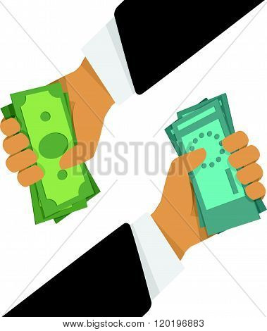 Currency exchange, money exchange. Stock Exchange in a flat style. Foreign exchange transactions in cash from hand to hand.
