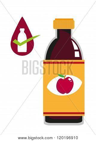 Apple Cider Vinegar Bottle Concept. Editable Clip Art.