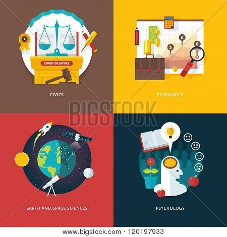 Vector set of flat design illustration concepts for civics study, economics, earth and space science