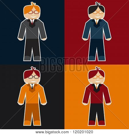 Flat Sticker Of Businessman . Concept Of Graphic Clipart Work