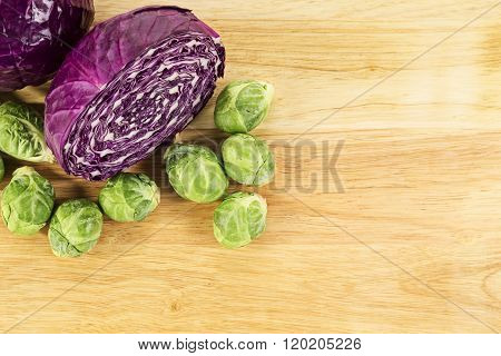 Red Cabbage And Brussel Sprouts
