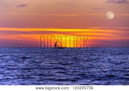 Sailboat Sunset Silhouette
