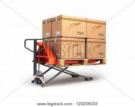 Hand Pallet Truck Carries A Pallet With Boxes Are Isolated On A White