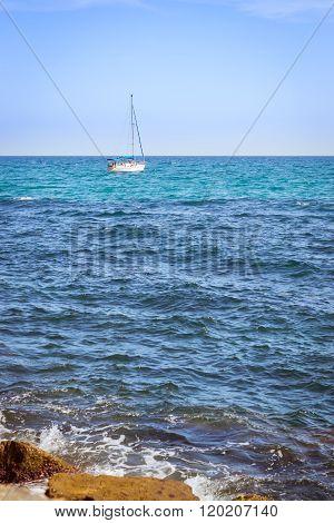 Sailboats Floating In Sea On Horizon, Av De Los Marineros, Torrevieja, Spain