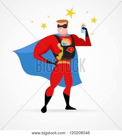 Super hero daddy in superhero costume with carrier and baby