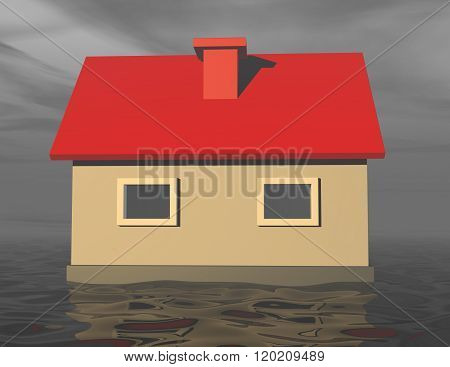 3d house sinking in flood water during rainy day.