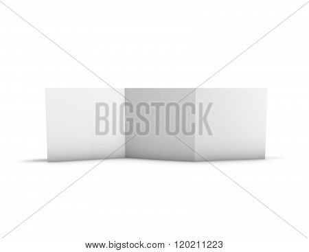 Folded Three Pages Brochure Presentation Template With Black Pages And Copy Space.