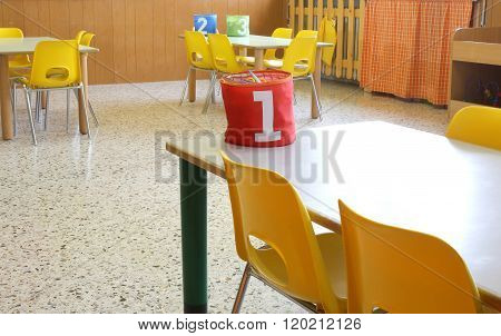Kindergarten Class With The Chairs And A Box That Says The Number One