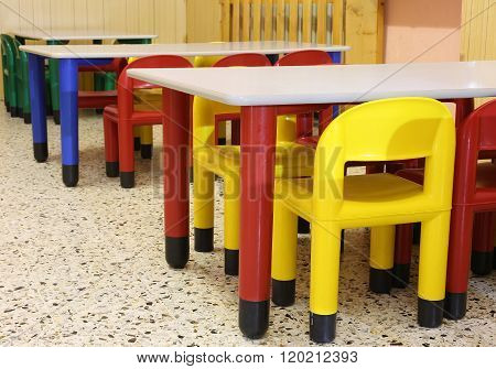 Colorful Chairs In The Refectory Of The Nursery With Small Chairs