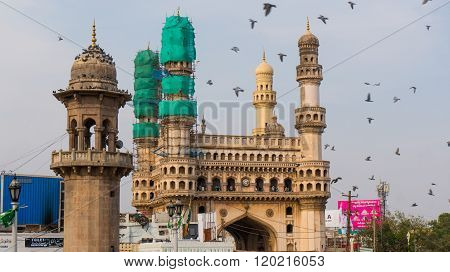 Charminar covered with nets for repair and restoration