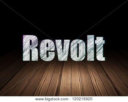 Political concept: Revolt in grunge dark room
