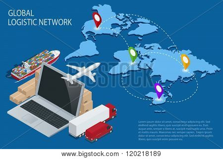 Global logistics. Global logistics network. Logistic isometric concept. Logistic Insurance. Ship car