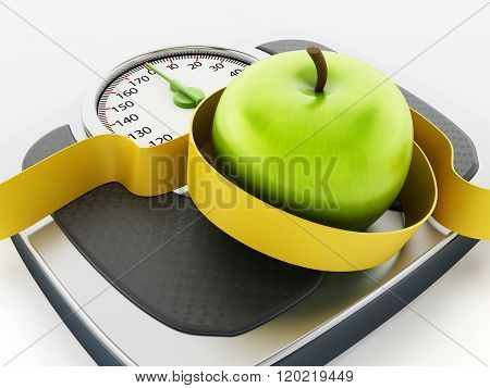 Green Apple And Tape Measure On Weight Scale