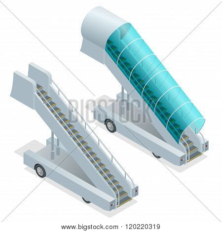 Two ramps on the airfield. Movable ramp isolated illustration. Movable ramp Vector. Movable ramp Ico