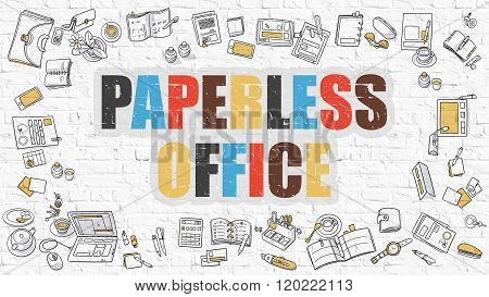 Paperless Office Concept. Multicolor on White Brickwall.