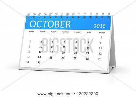 A blue table calendar for your events 2016 october