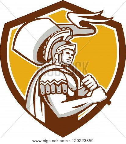 Roman Centurion Carry Flag Crest Retro
