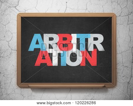 Law concept: Arbitration on School Board background