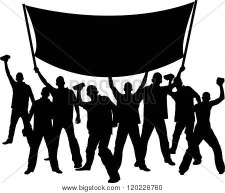 silhouettes of demonstrators with banner - vector illustration