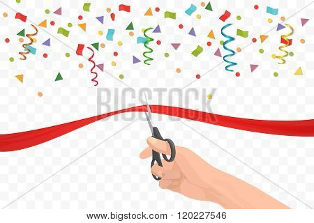 Hand holding scissors and cutting red ribbon on the transperant background with colorful confetti