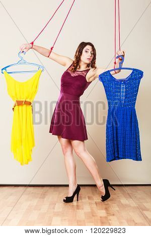 Addicted To Shopping Woman Girl Marionette With Clothes