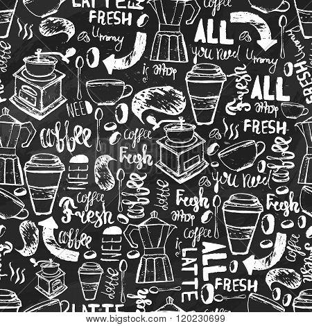 Seamless hand-drawn coffee  seamless pattern.  Coffee pattern with lettering. Vector Coffee pattern