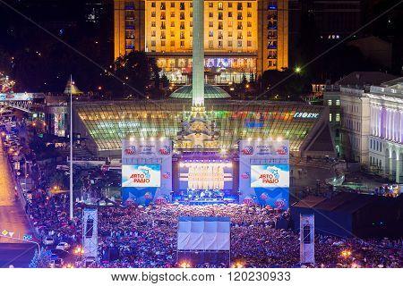 Maidan Nezalezhnosti At Night Before Revolution