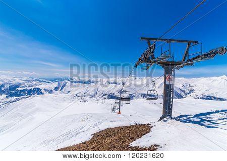 Top Stantion Of Ski Lift On Mountain