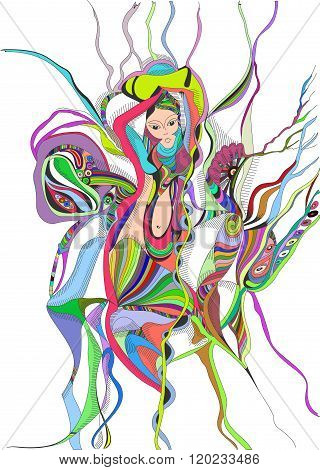 Surreal hand drawing girl dancing belly dance. Abstract graphic design.