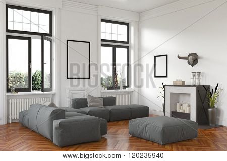 Stylish living room interior with fireplace and comfortable grey lounge suite on a hardwood floor below two windows with a view of the garden. 3d Rendering.
