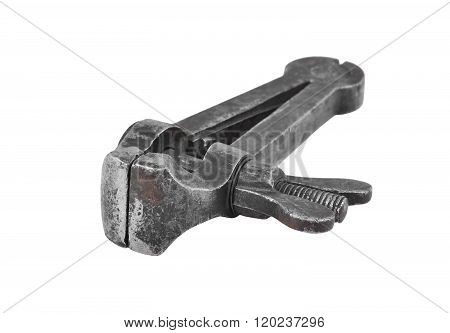 Vintage mechanical hand vise clamp isolated on white background poster