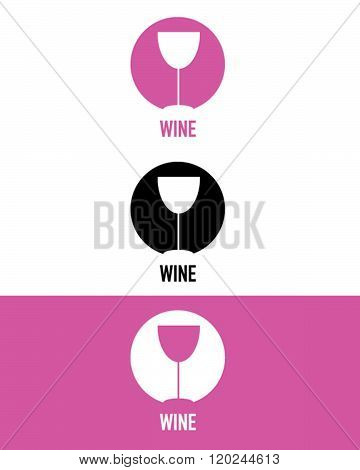 Vector Wine Glass Icon Set in Pink, Black and Reverse