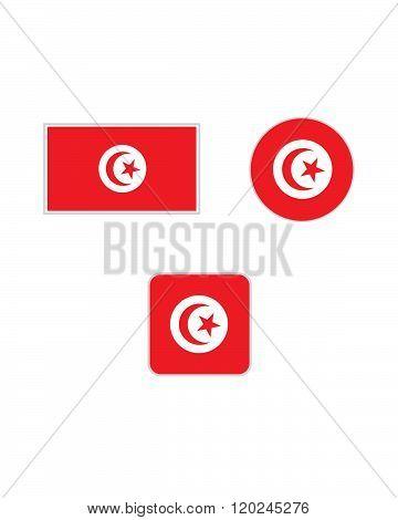 Vector Tunisia Flag and Icon Set