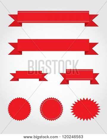 A vector collection of red ribbon, starburst and attention grabber design elements