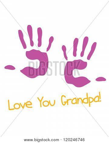 'Love You Grandpa' Hand Prints - Vector