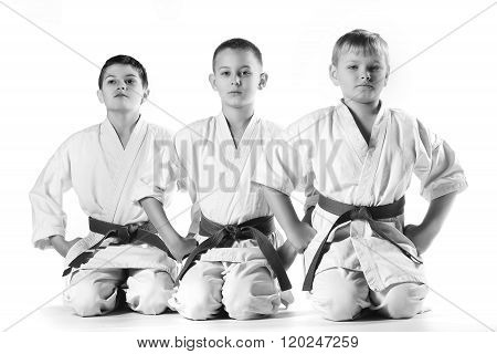 Karate boys in kimonos