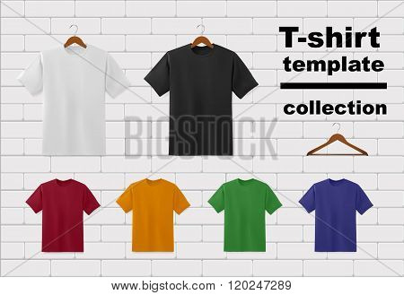 T-shirt template set on white brick wall