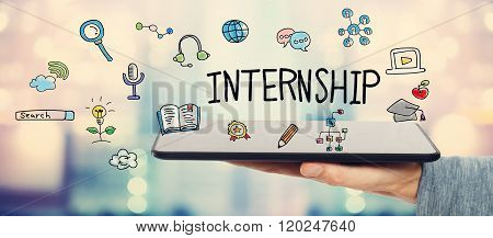 Internship Concept With Man Holding A Tablet