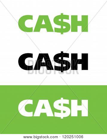 Vector Cash Wordmark in Color, Black and Reverse