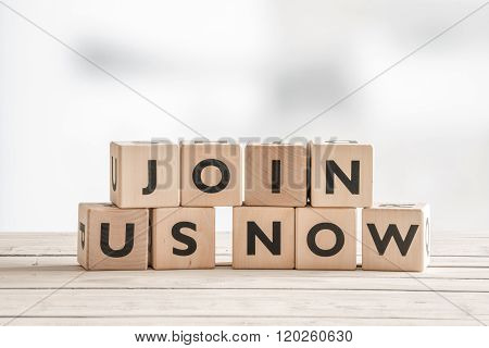 Join Us Now Sign With Wooden Blocks