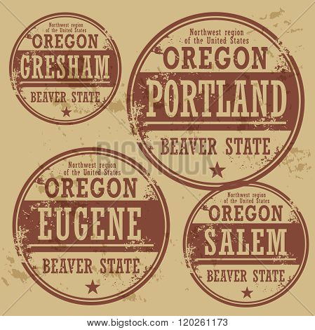 Grunge Rubber Stamp Set With Names Of Oregon Cities