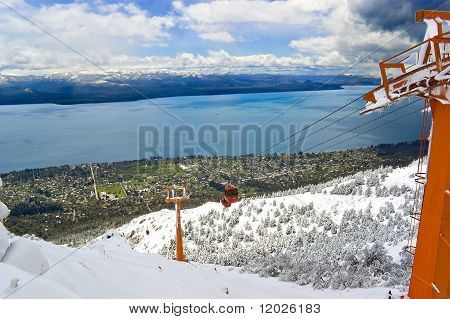 Cable railway in Mount Otto Bariloche Argentina. Bariloche city and lake Nahuel Huapi in the background. poster