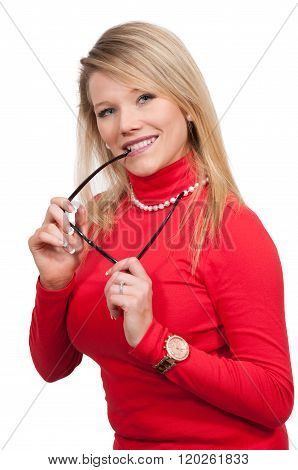 Woman Chewing Her Glasses