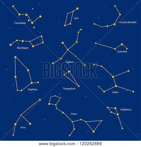 Constellations: Cassiopeia, Big Dipper, Cepheus, Lyra, Grus, Cygnus, Triangulum, Cetus, Corona Borea