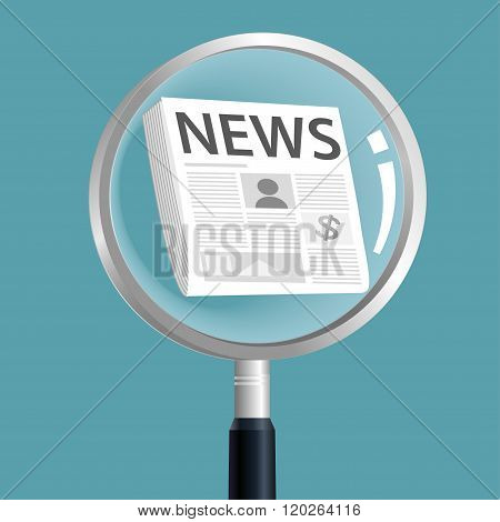 Newspaper in magnifier , searching for news